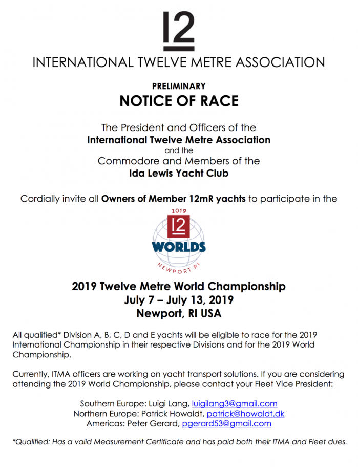 2019 12mR World Championship Preliminary Notice of Race