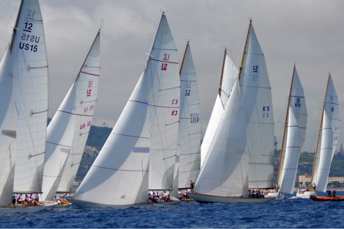 12 Metres racing in Barcelona during the 2014 12 Metre World Championship. The 2019 Worlds in Newport will be the largest-ever gathering of 12 Metres in the U.S. (photo credit: SallyAnne Santos/Windlass Creative)