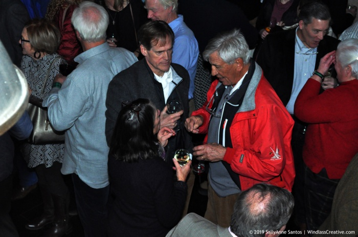 12 Metre World Championship Chairman, Peter Gerard (right) catches up with Courageous' helmsman, Arthur Santry.