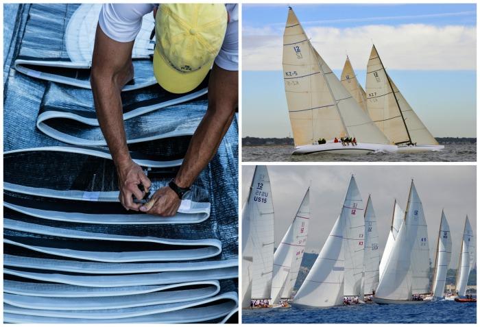 Clockwise from left: 12 Metre sailor preparing sails (Photo credit Richard Schultz); KZ-5 and KZ-7 at the 2012 12 Metre North American Championship; 2014 Worlds fleet in Barcelona (Photo credit SallyAnne Santos/Windlass Creative)