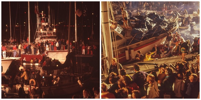 Scenes from the docks at the end of the 1983 America's Cup (Photos by Gilles Martin-Raget)