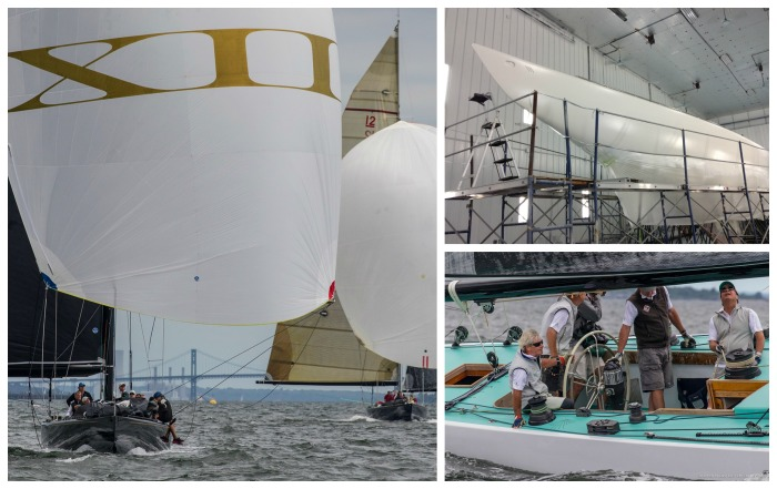 Clockwise from left: Challenge XII (KA-10) under sail, Freedom (US-30) at Pilots Point Marina in 2017; Intrepid (US-22) under sail. (Photos by Windlass Creative/SallyAnne Santos and courtesy of Freedom)
