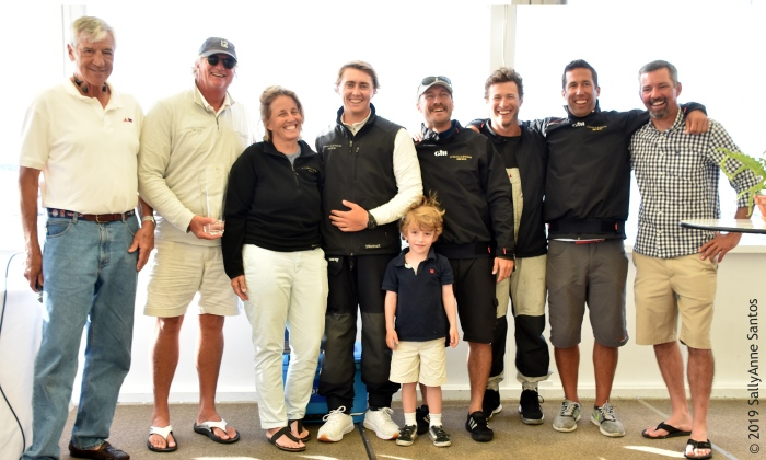 The team of Modern Division winner Challenge XII (KA-10) at the Newport Trophy Regatta Prizegiving at Ida Lewis Yacht Club. (Photo Credit: SallyAnne Santos)