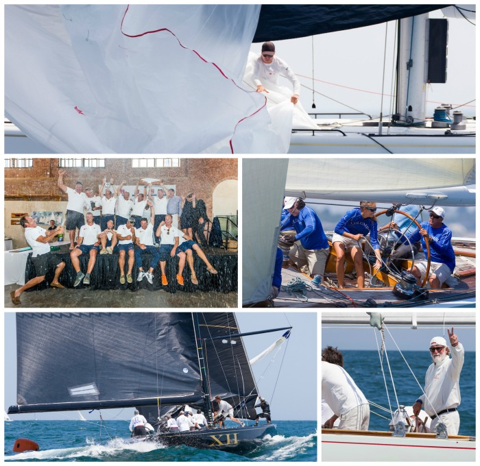 Clockwise from top: Crew work on Legacy (KZ-5); Legacy celebrates at the awards ceremony; Helmsman Kevin Hegarty aboard Columbia (US-16); Challenge 12 (KA-12) in its final race; Mauro Pelaschier, helmsman of Nyala (US-12)