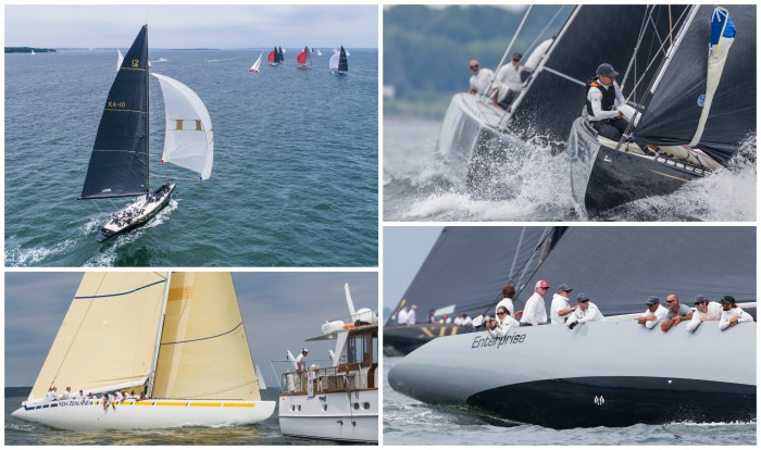 Challenge XII (KA-10) aerial; Challenge XII in action; New Zealand (KZ-3); and Enterprise (US-27) at the 12 Metre Worlds on Day Three.