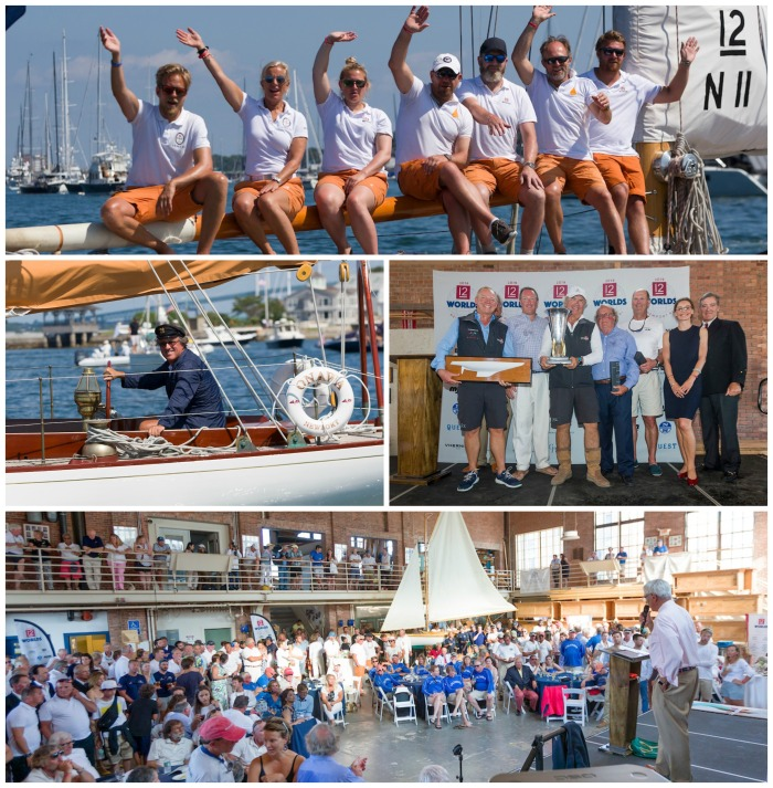 Clockwise from top: Vema III (N-11) in the 12 Metre Parade; Earl McMillen of Onawa (US-6) in parade dress; Courageous (US-12) accepts Waypoints Series Trophy; Awards Ceremony at the International Yacht Restoration School.