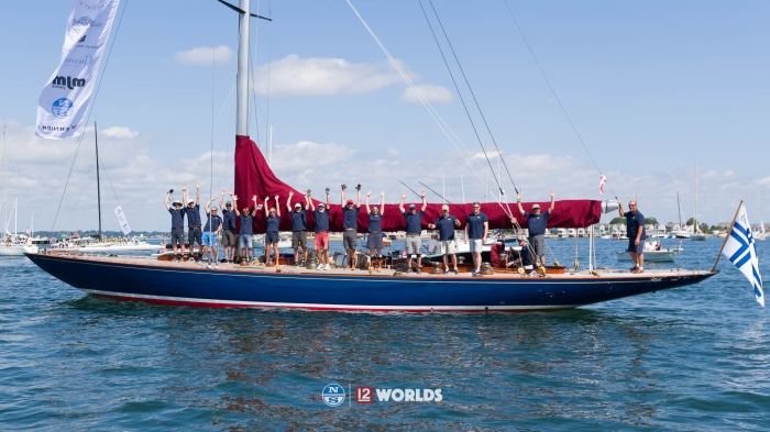 Blue Marlin in the 2019 12mR World Championship Parade, Newport, RI, USA.
