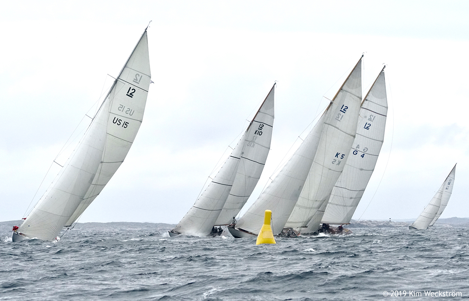 The Baltic Vintage fleet sailing to weather at the 2019 12mR European Championship at Marstrand. ~ Kim Weckström photo