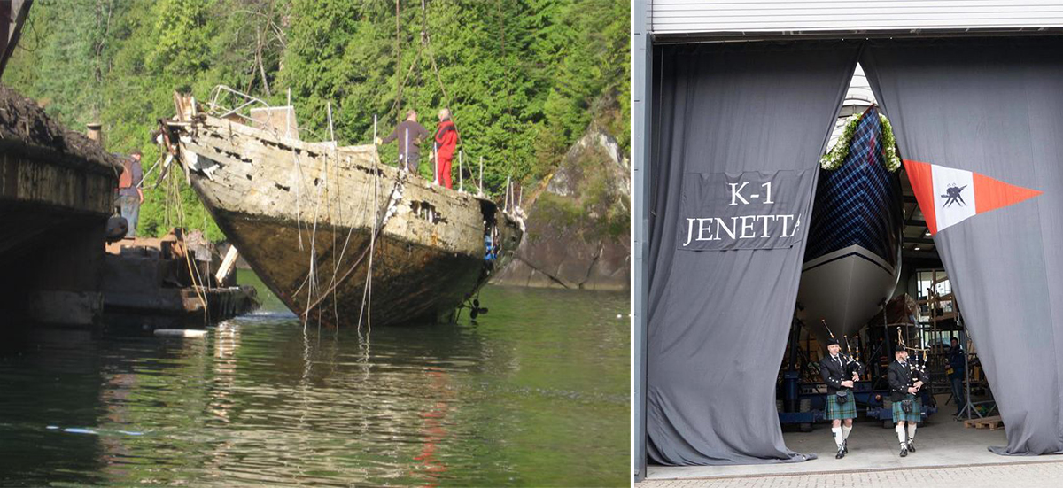 Jenetta emerging from the bottom of Lake Pitt (CA) in 2009 and from Robbe & Berking Shipyard (DE) in 2019. photos: courtesy Robbe & Berking