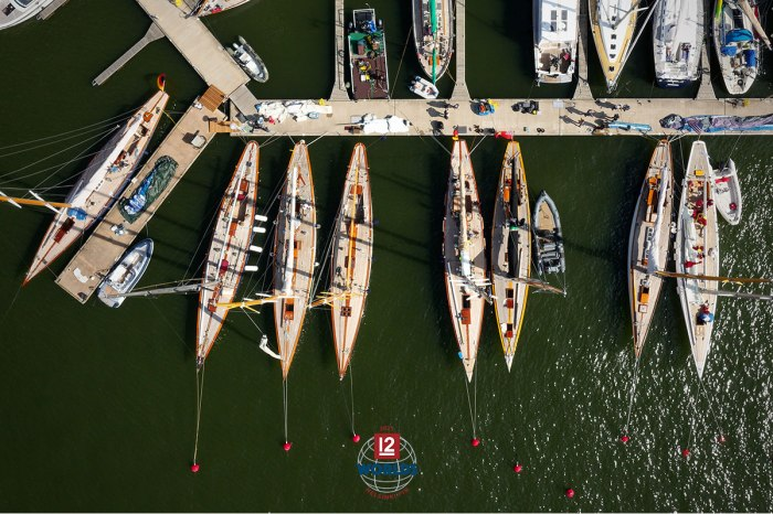 The Vintage 12mR fleet assembled on the dock at NJK for the 2021 EVLI 12mR World Championship, photo: Sailpix.fi
