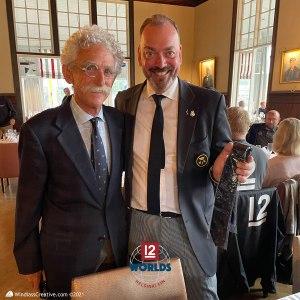 ITMA President, Paul Buttrose presents 12 Metre YC tie to NJK Commodore Mats Welin | SallyAnne Santos