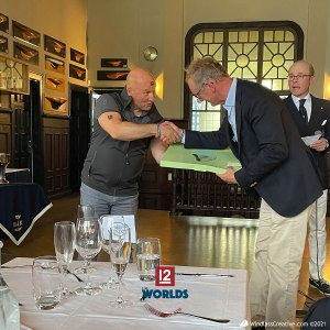 Blue Marlin (FIN-1) owner, Henrik Andersin receives 2nd place Daily price from Stanton-Chase Managing Partner, HSS Commodore and Vanity V (K-5) skipper, Mikael Stelander