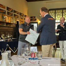 Flica II (K-14) owner, Alexander Falk receives 3rd place Daily prize from Stanton-Chase Managing Partner, HSS Commodore and Vanity V (K-5) skipper, Mikael Stelander