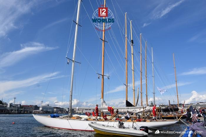 The Vintage 12mR fleet gathered on the dock at NJK for the 2021 EVlI 12mR World Championship. ~ photo: SallyAnne Santos