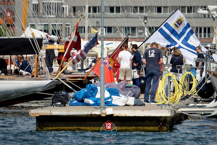 A sea of flags on the NJK dock at the 2021 EVLI 12mR World Championship, photo: Sailpix.fi