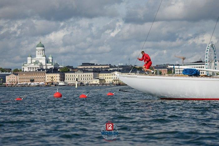 Vim (US-15) arriving at NJK dock for the 2021 EVLI 12mR World Championship, photo: Sailpix.fi