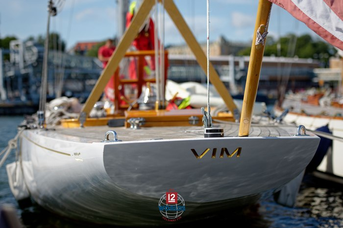 Vim (US-15) on the NJK dock ready for the 2021 EVLI 12mR World Championship, photo: Sailpix.fi