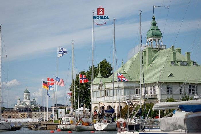 Vintage 12mR fleet assembled on the dock at NJK for the 2021 EVLI 12mR World Championship, photo: Sailpix.fi