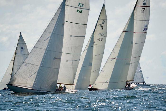 Vintage fleet on the starting line at the 12mR Pre-Worlds at KSSSKSSS's Saltsjöbaden - Sandhamn Regatta